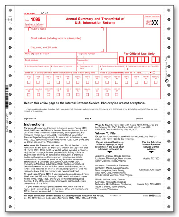 1096 form 2015 1096 Tax Forms | FileRx.com