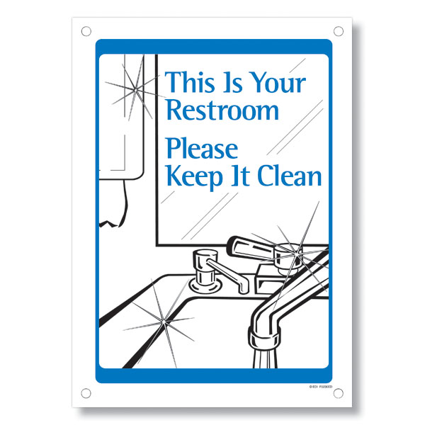 Office etiquette signs for Please keep bathroom clean