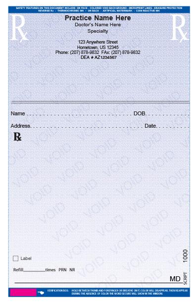 printed prescription pads